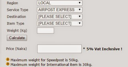 Shipping costs (prices) in Nigeria - EMS, NIPOST, Speedpost