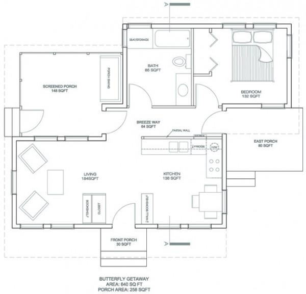 Dise o arquitect nico de casa habitaci n con una recamara for Planos de casas de una habitacion