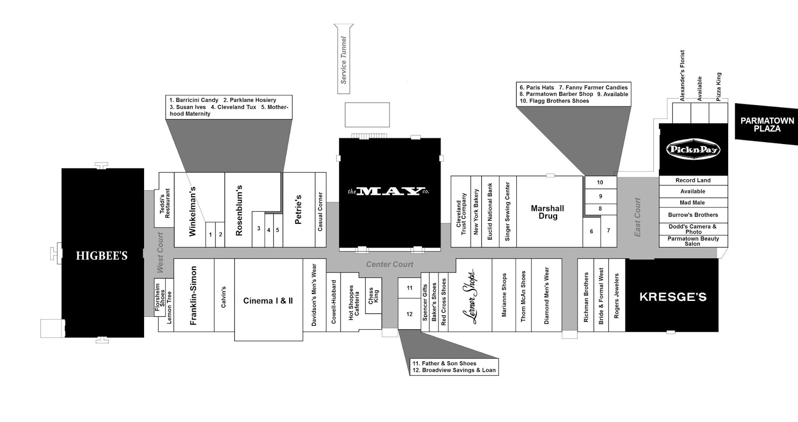 west wing office space layout circa 1990. A New Concourse Extended West Of May Company. Moreover, Second Anchor Was Built. The Complex Now Known As PARMATOWN MALL. Wing Office Space Layout Circa 1990