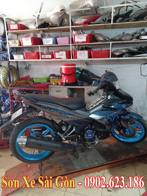 Sơn mâm xe máy Exciter màu xanh nước biển cực đẹp