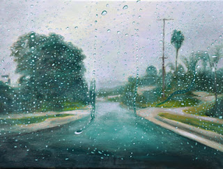 Katherine Kean, Between the Drops. contemporary landscape painting, rain drops, road, green, contemporary realism