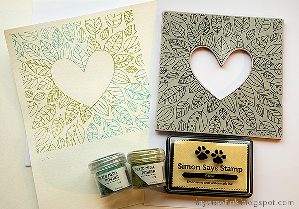 Layers of ink - Inky Heart Autumn Card Tutorial by Anna-Karin Evaldsson. Emboss the stamp.