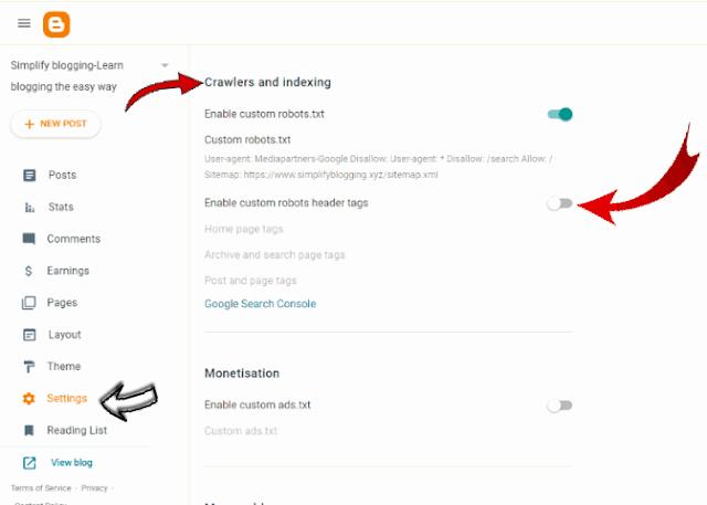 Custom Robots Header Tags in new blogger interface
