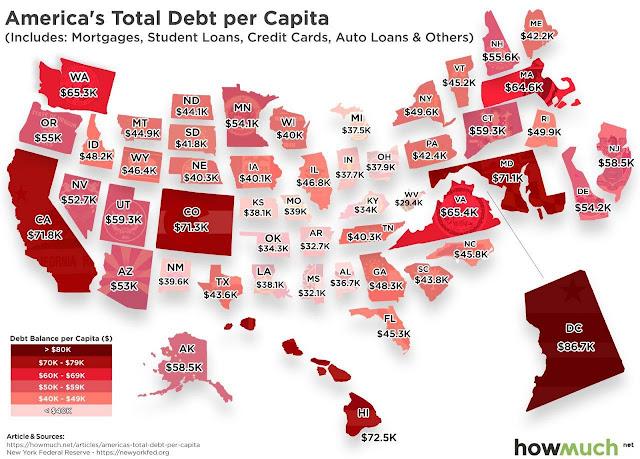 Средний долг жителя США по штатам