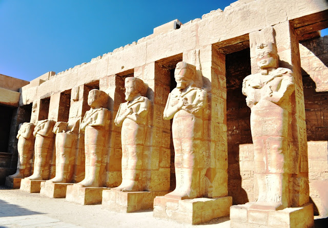 Statues of different Pharaohs at the Karnak Temple, Egypt