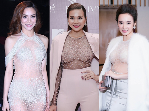"""Váy ngọc trai """"cực hiểm"""" của Hà Hồ, Thanh Hằng, Angela Phương Trinh"""