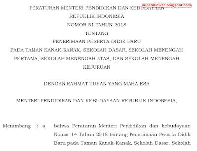 Permendikbud No. 51 Tahun 2018. Tentang Juknis PPDB TK SD SMP SMA SMK Tahun Pelajaran 2019/2020.