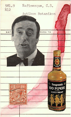 black and white portrait photo library card postage stamp Seagram's Scotch bottle Dada Fluxus mail art collage