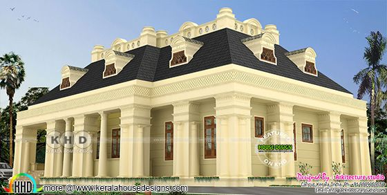 Single storied luxury Colonial home design