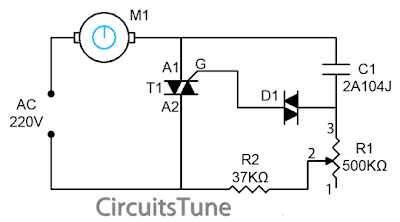 Ceiling Fan Regulator- Motor Speed Control Circuit Diagram