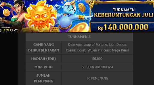 50 Pemenang Turnamen Mega Reels Berhadiah Rp.140 Juta