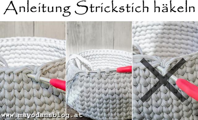DIY Häkelkörbchen im Strickstich