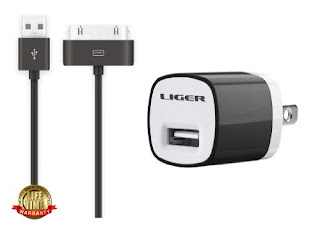 Liger Wall Charger for iPhone 4/4S,iPad 1/2/3, iPod - Carrier Packaging - Black