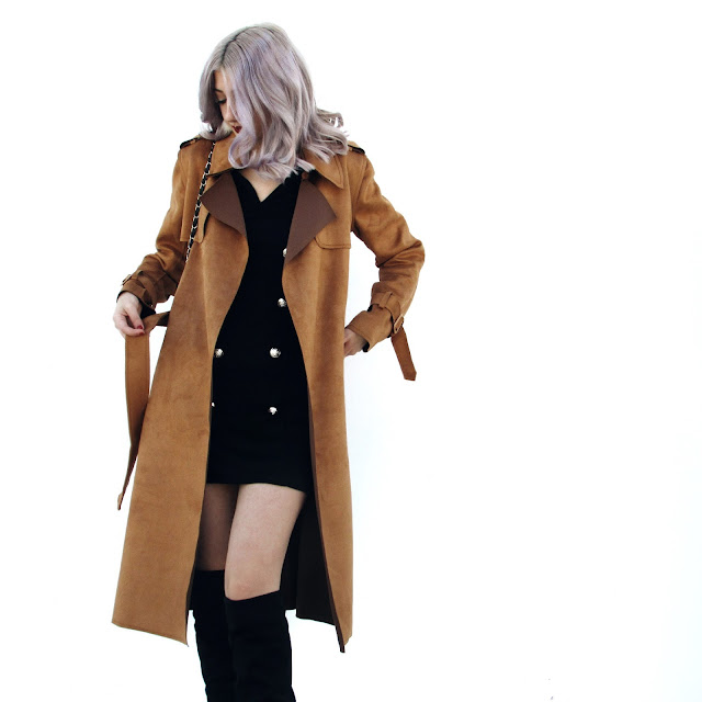 camel coat black dress