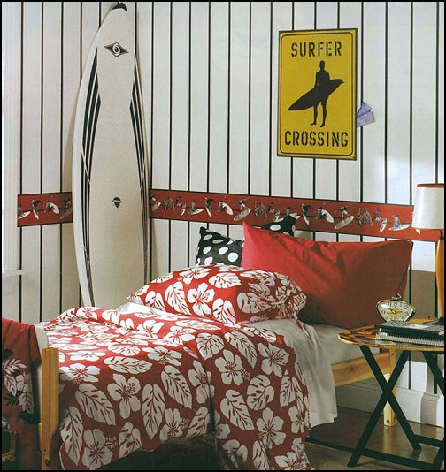 surfing bedroom - beach surf themed bedroom ideas - surfer girl themed bedroom ideas - surf decor for bedroom  - beach theme bedrooms - surfer girls - girls surfing themed bedroom ideas - surfer boys - coastal living style - surfing themed bedroom decorating ideas - beach bedrooms - raffia valance window ideas - 3d wall decorations - surfing decor - surfer girls surfing bedrooms surf bedding