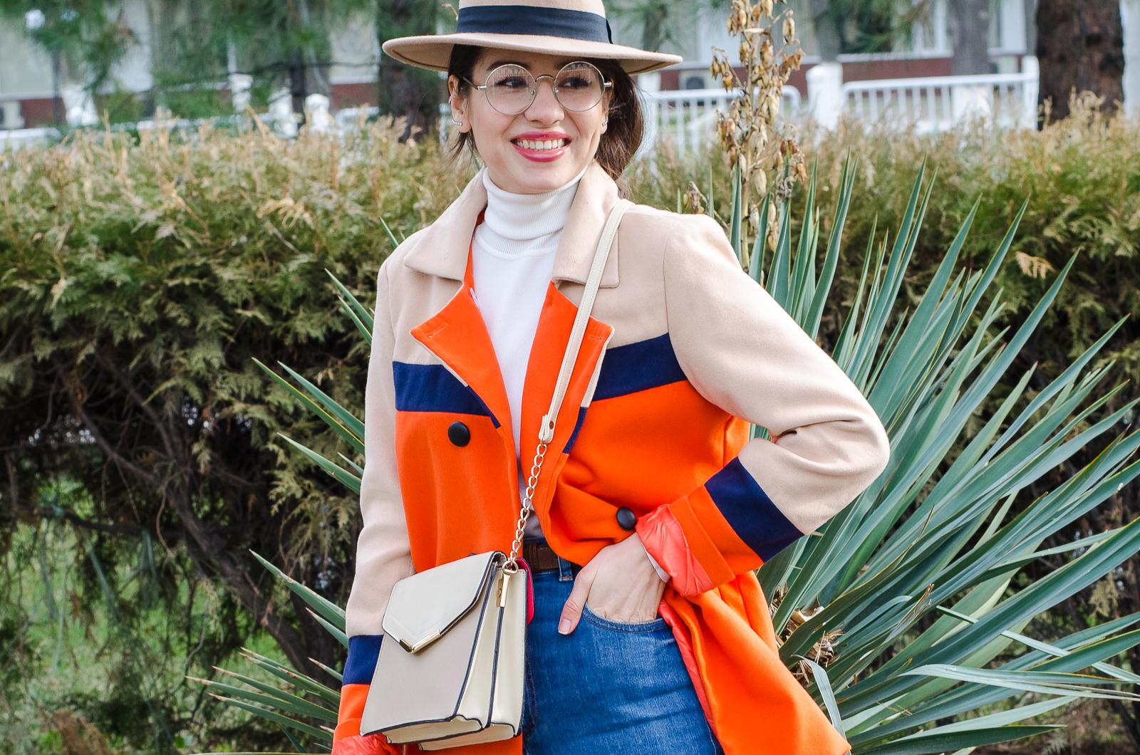 fashion blogger diyorasnotes colorblocking orange coat mom jeans asos beige hat