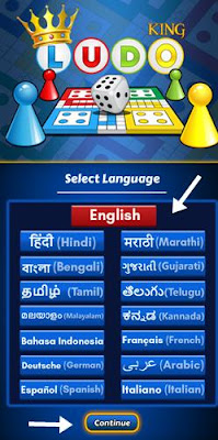 select language and click continue