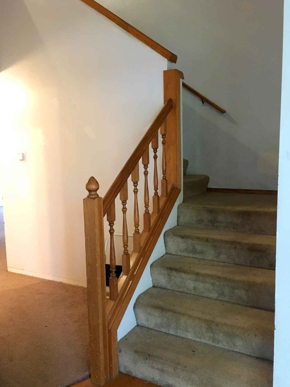 We Ripped The Carpet Out Immediately, Then Redid The Floors, But We Lived  With The Stairs Like This For MONTHS. The First Thing You See When You Walk  In The ...
