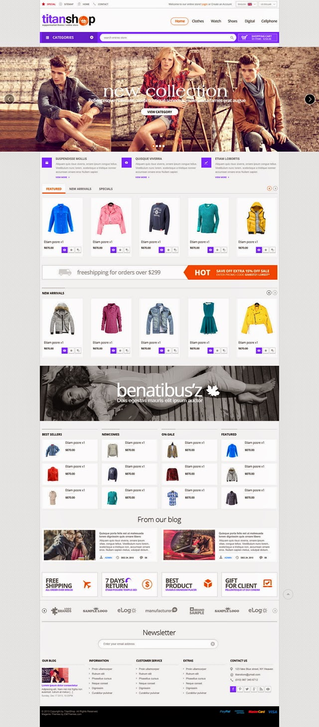 Screenshot Prestashop template