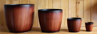 wood finish plastic pots