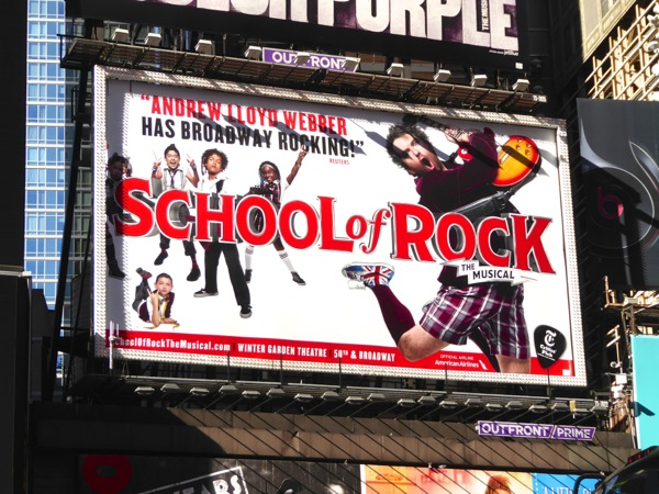 School of Rock musical billboard NYC
