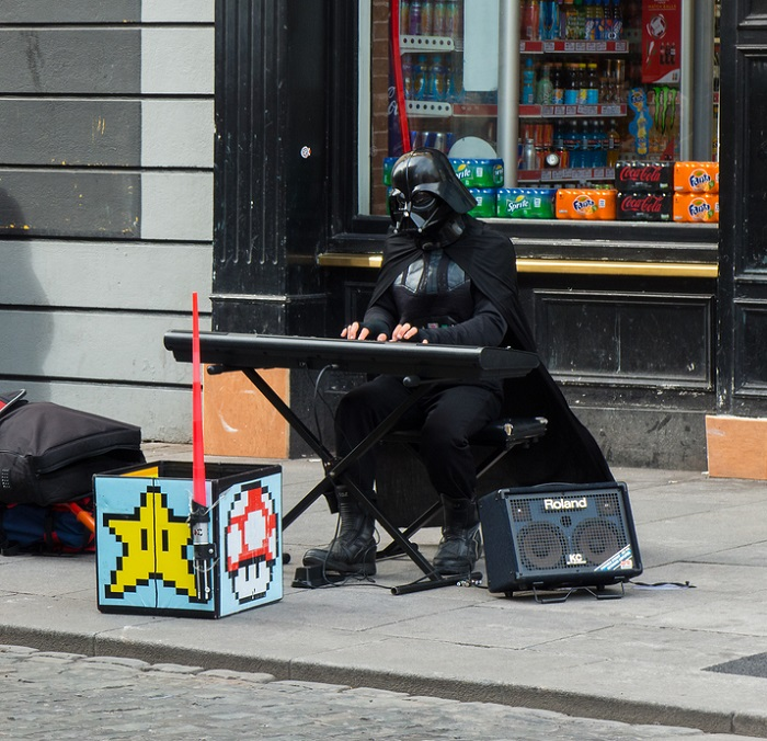 Darth Vader Costume Busking Streets Playing the Piano