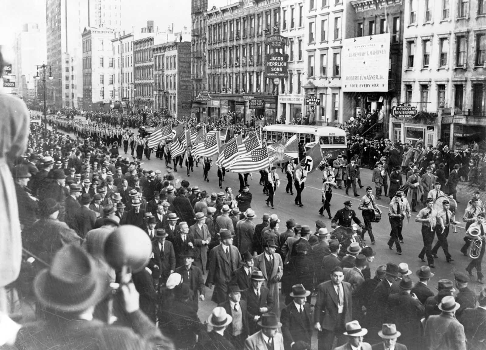 German American Bund parade in New York City on East 86th St. on October 30, 1939.