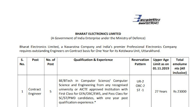 BEL Recruitment Application Form PDF Notification