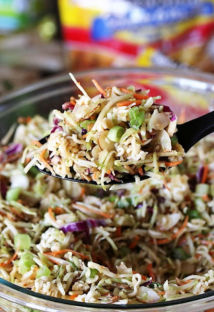 Serving Spoon of Asian Ramen Noodle Salad with Broccoli Slaw Image