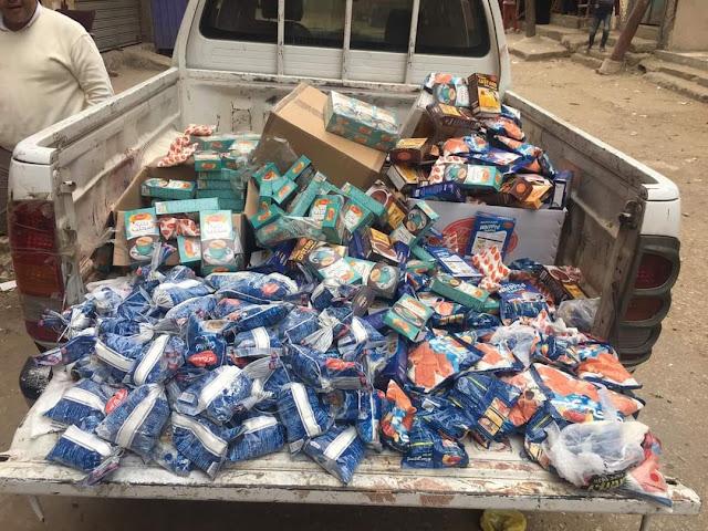 ضبط أكثر من 300 كيس سلع ومواد غذائية منتهية الصلاحية باحد محلات بيع المواد الغذئية بالبحارى  فى الفيوم