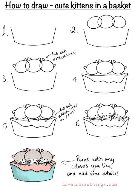 Draw cute kittens