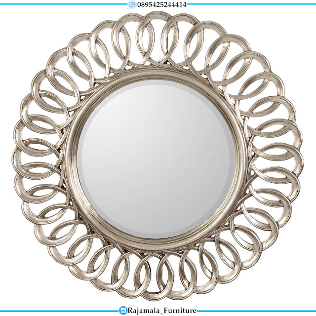 Model Cermin Hias Mewah Bundar Luxury Carving Jepara Terbaru RM-0403