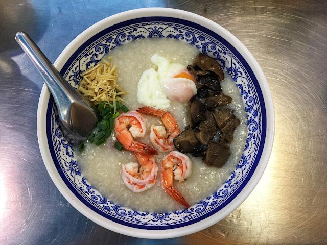 Thai rice porridge with shrimp and mushrooms in Bangkok, Thailand