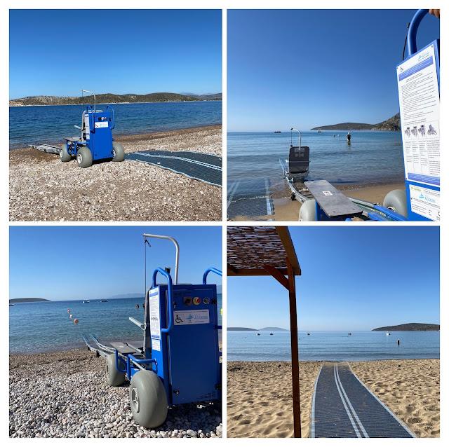Επανατοποθετήθηκαν οι θαλάσσιες ράμπες για ΑΜΕΑ στις τέσσερις «γαλάζιες» παραλίες του Δήμου Ναυπλιέων