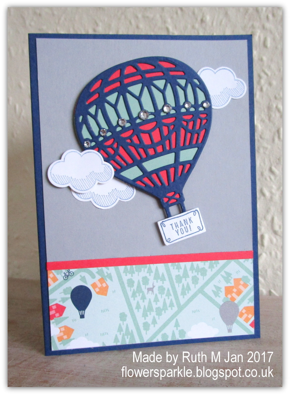 Flower Sparkle Hot Air Balloon Thank You Card