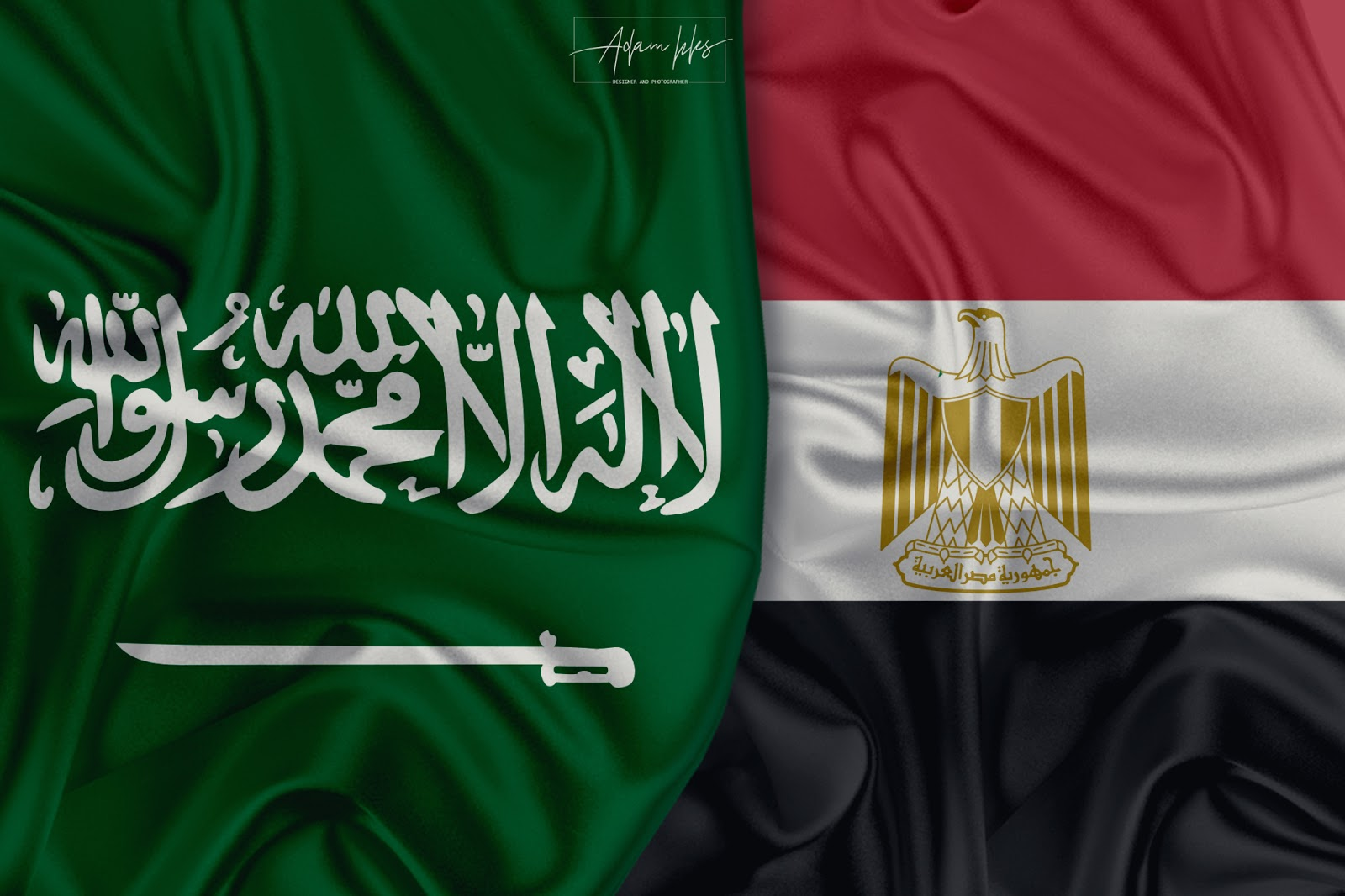 علم السعودية وعلم مصر