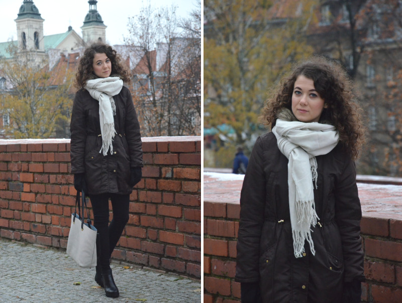 Warszawa, zima, blog, biały szalik, Reserved, kurtka H&M, stylizacja, outfit, jesień, torebka Parfois, botki CCC