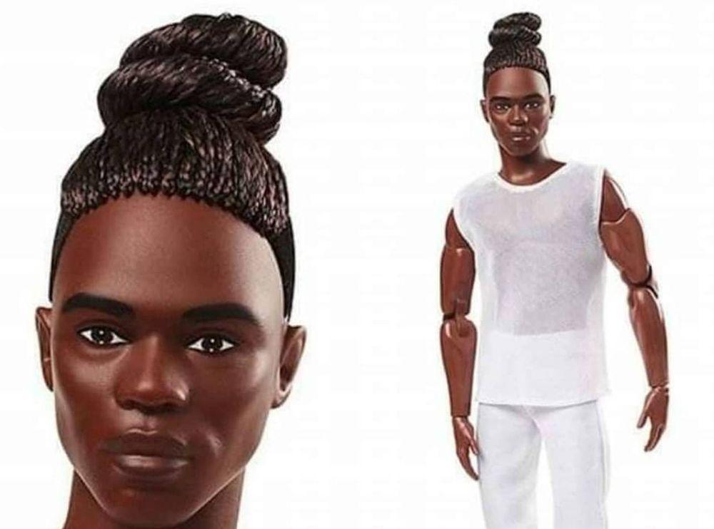 Темнокожий кен Barbie Looks 2021 с афрокосичками