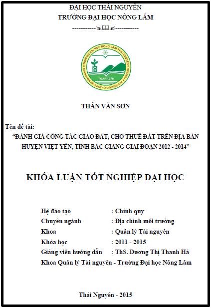 Đánh giá công tác giao đất cho thuê đất trên địa bàn huyện Việt Yên tỉnh Bắc Giang giai đoạn 2012 – 2014