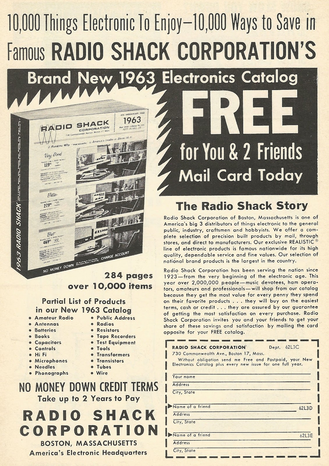 Old Ads Are Funny: 1962 ad: Radio Shack's 1963 Electronics