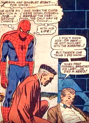 Amazing Spider-Man #52, john romita, spider-man watches as fred foswell lays dead on the floor with j jonah jameson kneeling over his body