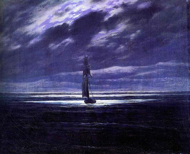 a Caspar David Friedrich painting of a sailing ship at night under a purple sky