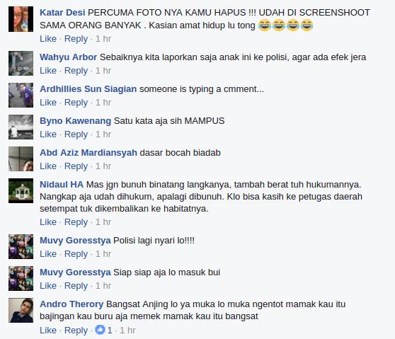 Diduga Membunuh Macan Dahan akun Facebook ini Mendapat Kecaman Keras