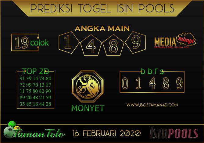 Prediksi Togel ISIN TAMAN TOTO 16 FEBRUARY 2020