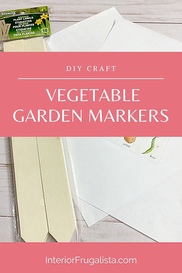 How to upcycle dollar store wooden plant label stakes into weatherproof rustic vegetable garden markers with vintage-style using DIY clear decals. #gardenstakes #gardenmarkers