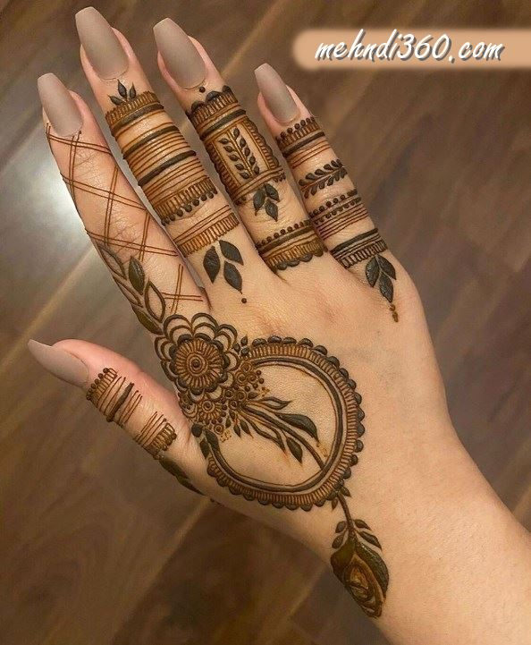 Round Mehndi Design Back Hand