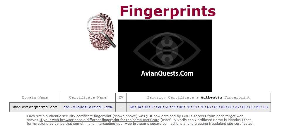 AvianQuests.com SNI Fingerprints 2021