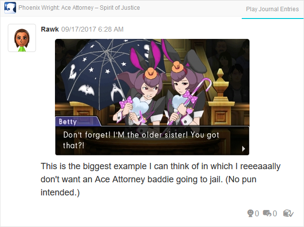 Phoenix Wright Ace Attorney Spirit of Justice Betty Bonny de Famme I'm the older sister