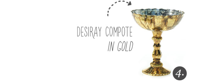 Vintage Inspired Desiray Compote in Gold from Accent Decor