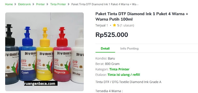 Paket Tinta DTF Diamond Ink 1 Paket 4 Warna + Warna Putih 100ml
